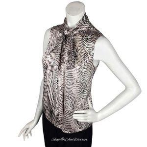 Anne Klein silk snakeskin print tie neck blouse